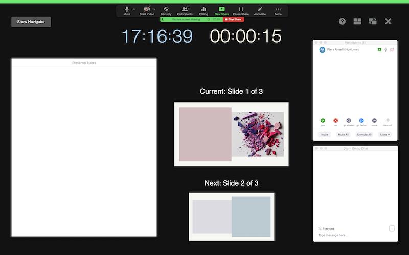 Screenshot of Zoom sharing a Keynote presentation